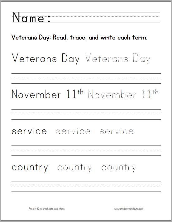 Veterans Day Handwriting Worksheet for K-1 | Student Handouts