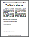 War in Vietnam Reading with Questions