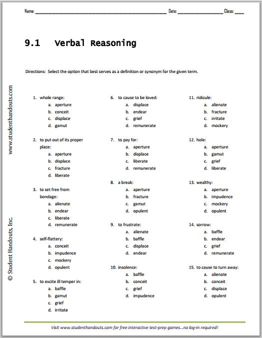 Vocabulary List 9.1 Verbal Reasoning Worksheet   Student Handouts
