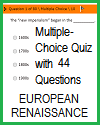 European Renaissance Multiple-Choice Test with 44 Questions; Grades 9-12