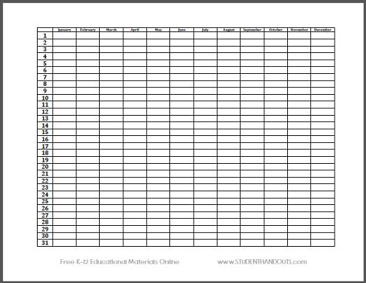 Year Long Calendar Printable : Free printable calendar sheet for teachers students