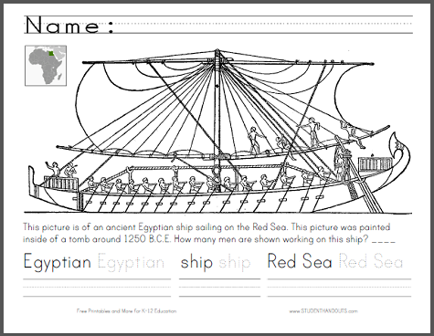 Worksheets Ancient Egypt Map Worksheet ancient egyptian ship worksheet for lower elementary this is a fun cross curricular to use with primary students when learning about egypt first teachers point the location of m