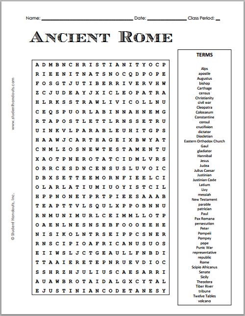 free printable ancient rome word search puzzle student handouts. Black Bedroom Furniture Sets. Home Design Ideas