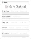 Back to School Handwriting Practice Worksheet