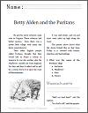 Betty Alden and the Puritans Workbook for Grades 1-3