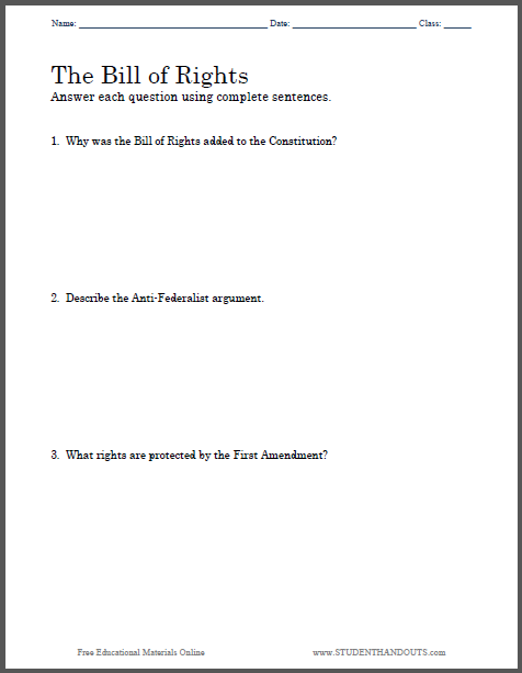 Printables Bill Of Rights Worksheets bill of rights essay questions student handouts why was the added to constitution 2 describe anti federalist argument 3 what are protected by first amendment