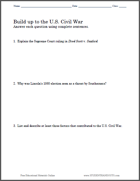 civil war research paper questions