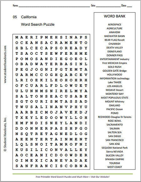 Free Printable Word Search Puzzle on the State of California - Scroll ...