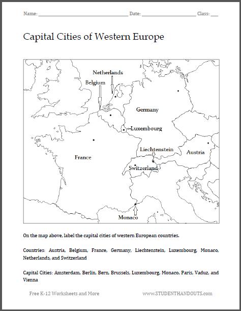 Europe Printable Worksheets : Free printable worksheet scroll down to print pdf