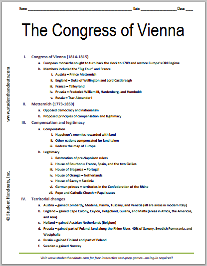 Congress of Vienna, 1814-1815 - Free Printable History Outline