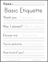 Basic Etiquette Phrases Handwriting and Spelling Practice Worksheet