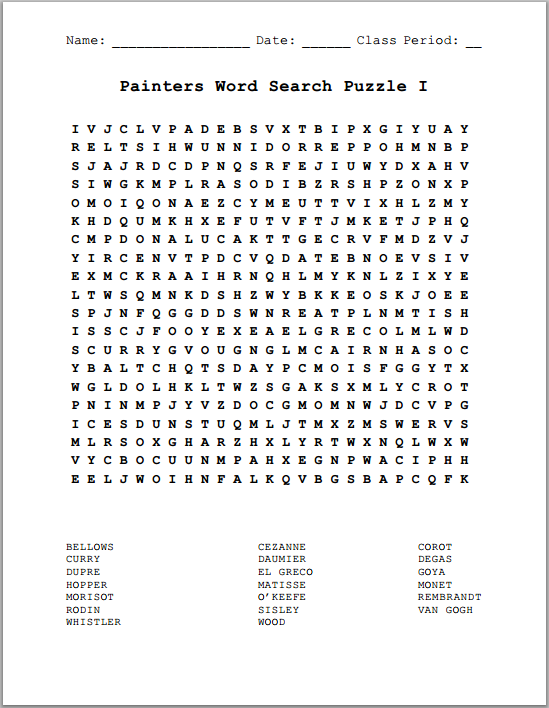 Artists: Famous Painters I - Free Printable Word Search Puzzle