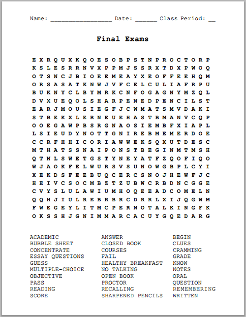 Printables Word Search Puzzle Printable Worksheets final exams free printable word search puzzle student handouts