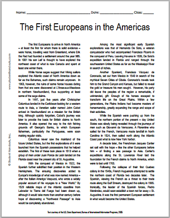 """""""The First Europeans in the Americas"""" Reading with Questions for High School United States History Students"""