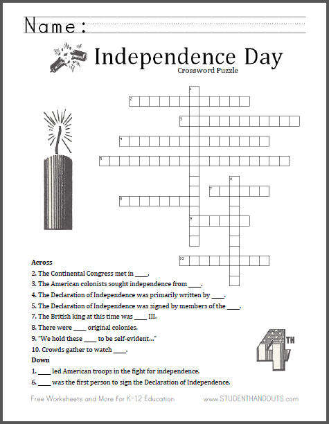 Fourth Of July Crossword Puzzle Student Handouts