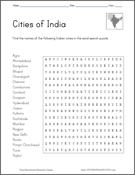 Students find the names of twenty prominent Indian cities in the word search puzzle. Click here ...