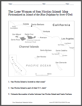 Island of the blue dolphins worksheets student handouts this worksheet has students familiarize themselves with the area in california in which the lone woman of san nicolas the heroine of scott odells island altavistaventures Gallery