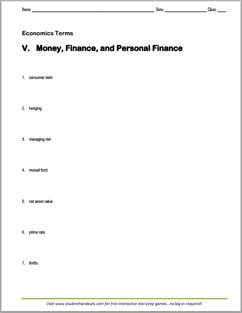 Worksheet Managing Finances Worksheet money and personal finance vocabulary worksheet terms consumer debt hedging managing risk mutual fund net asset value prime rate thrifts