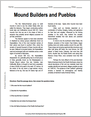 """Mound Builders and Pueblos"" Reading with Questions for High School United States History Students"