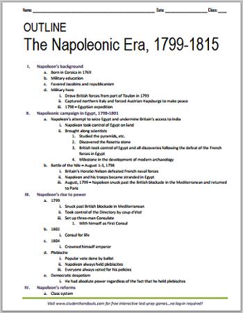 printable outline napoleonic era 1799 1815 student handouts. Black Bedroom Furniture Sets. Home Design Ideas
