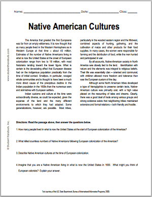 Native American Cultures | Free Printable American History Reading ...