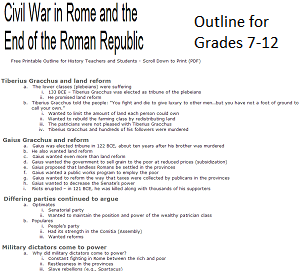 civil war in ancient rome free printable history outline. Black Bedroom Furniture Sets. Home Design Ideas
