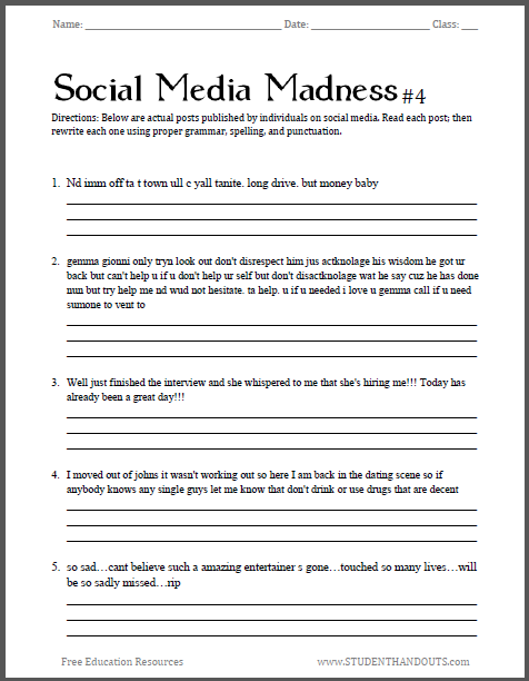 Printables Fun Grammar Worksheets social media madness sheet 4 this is the fourth worksheet in our fun and practical grammar spelling series students grades 7 12 attempt to