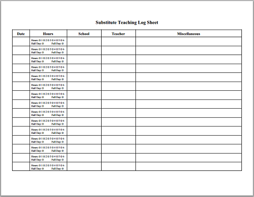Substitute Teaching Daily Log