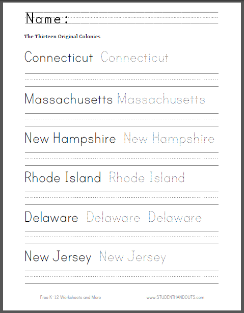 thirteen colonies worksheet