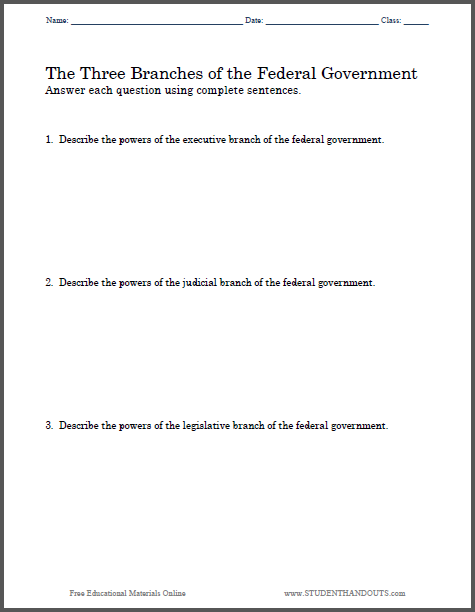 Three Branches Of Government Essay Questions Student Handouts