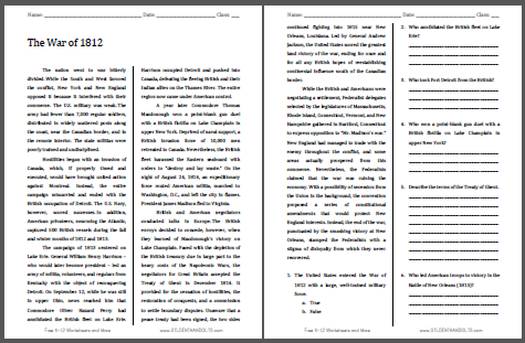 War of 1812 American History Reading with Questions | Student Handouts