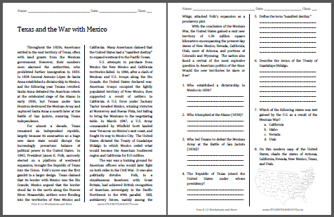 Texas and War with Mexico | Free Printable American History ...