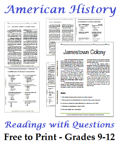 Printables High School Worksheets list of american history readings worksheets for high school united states with questions grades 9 12