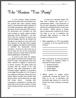 boston tea party reading with questions student handouts. Black Bedroom Furniture Sets. Home Design Ideas