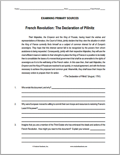 Declaration Of Pillnitz Dbq Worksheet Student Handouts