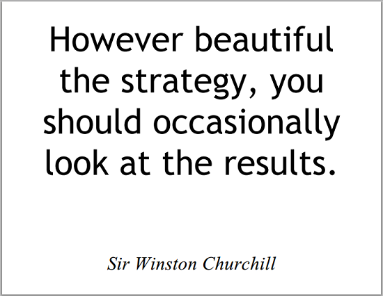 """""""However beautiful the strategy, you should occasionally look at the results,"""" Sir Winston Churchill."""