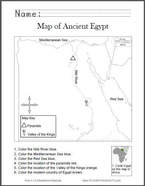 ancient egypt map worksheet for kids student handouts. Black Bedroom Furniture Sets. Home Design Ideas