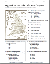 England in 1066 (Norman Conquest)  Map Worksheet