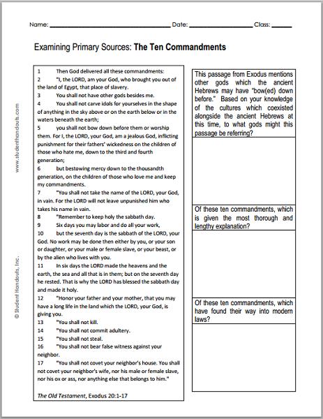Ten Commandments DBQ Worksheet : Student Handouts