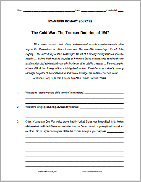 ... Worksheet on the Cold War in Europe - Scroll Down to Print (PDF File