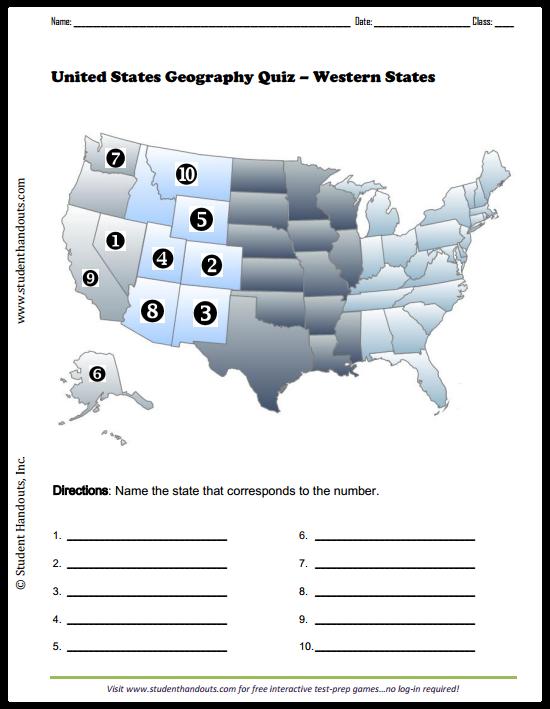 Usa state map quiz printable