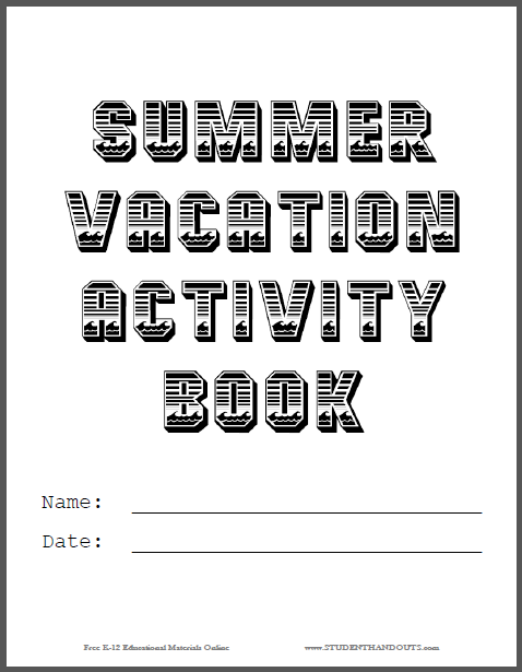 Summer Vacation Activity Book Cover | Student Handouts