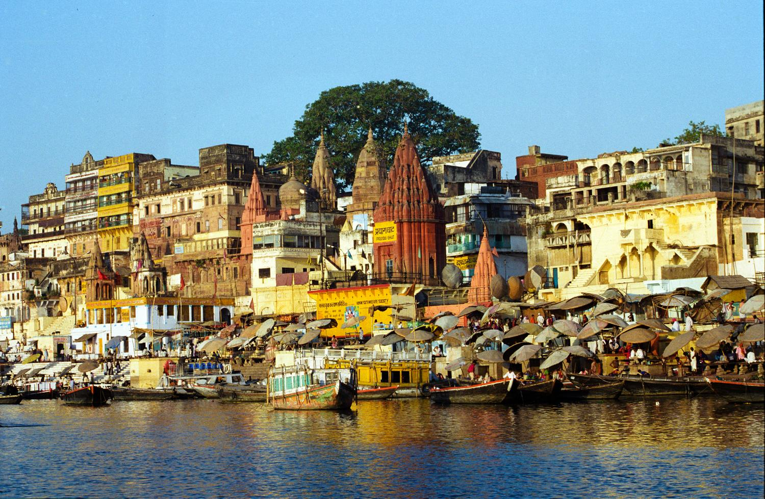 Varanasi, Uttar Pradesh, India, on the River Ganges.  Varanasi is one of the world's oldest continuously inhabited cities.  Varanasi is often called the religious capital of India.  Hindu pilgrims travel to Varanasi in order to cleanse their spirits in the River Ganges.