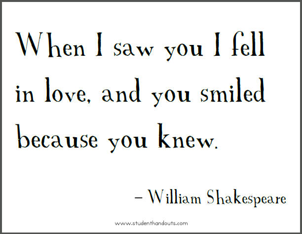 Falling In Love Quotes William Shakespeare