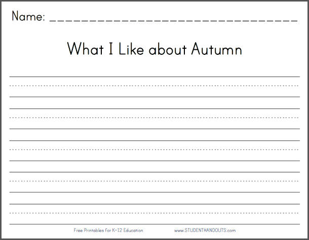 What I Like About Autumn Writing Prompt on High School History Worksheets